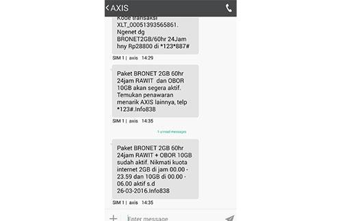 Cek Kuota Internet Axis Lewat SMS