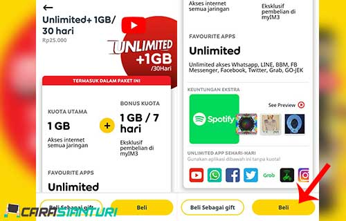 informasi paket Unlimited+ 1GB