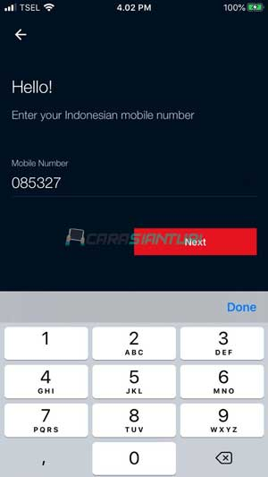 Login dengan Nomor Telkomsel