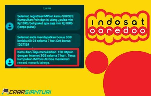 Cara Dapat Kuota IMPoin Indosat 3GB Gratis