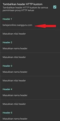 Masuk ke Header HTTP Custom