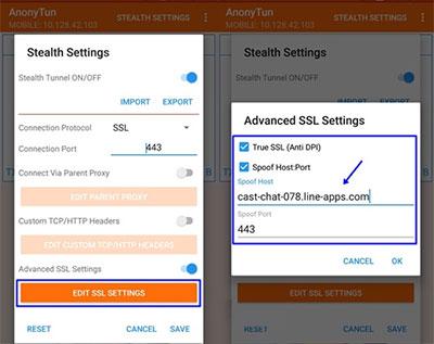 Tap bagian EDIT SSL SETTINGS