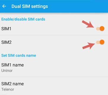 Disable Kartu SIM