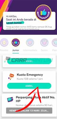 kuota gratis emergency axis