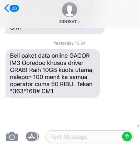 Format SMS Paket Internet Gacor Grab Indosat
