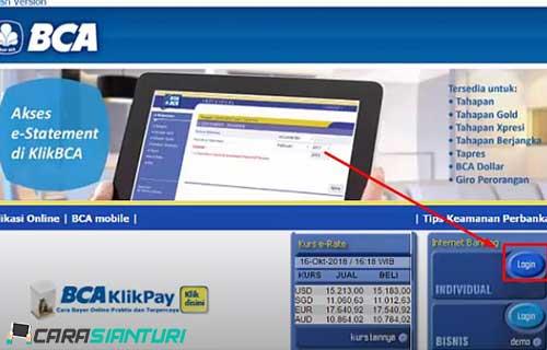 1. Kunjungi website internet banking BCA