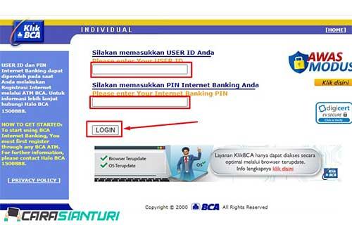 2. Lalu masukkan user id dan PIN internet banking BCA