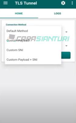 2. Pada Connection Method pilih Custom SNI