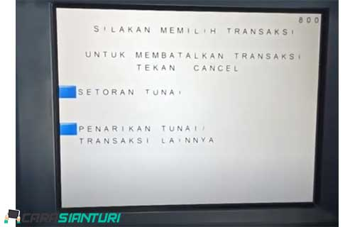 2. Pilih menu Penarikan TunaiTransaksi Lainnya