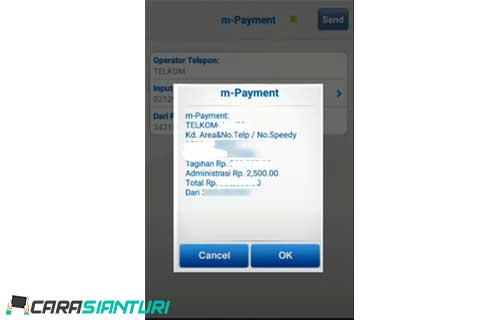 5. Setelah itu akan muncul informasi pembayaran dari jumlah tagihan biaya administrasi dan nama pelanggan