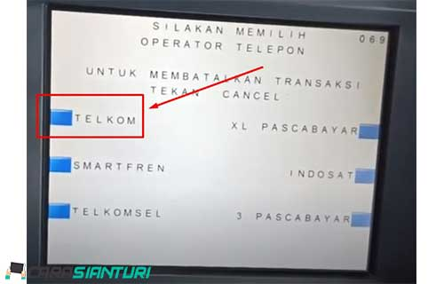6. Pilih operator telepon Telkom