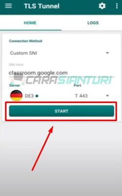 7. Baru klik Start tunggu beberapa detik sampai menemukan server yang baru