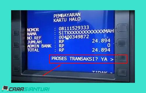 9 Pastikan nomor nama dan jumlah tagihan kartu HALO sudah benar jika sudah pilih YA