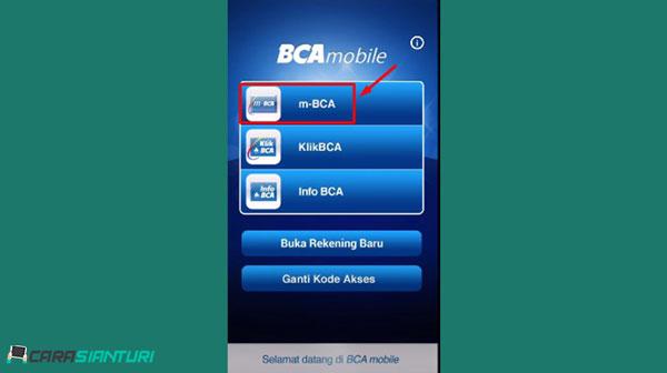 1. Buka aplikasi BCA Mobile lalu pilih m BCA dan masukkan kode akses Mobile Banking BCA