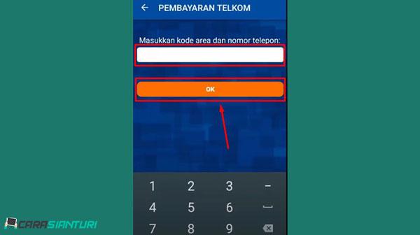 4. Masukkan kode area dan nomor telepon indihome kamu dan klik OK