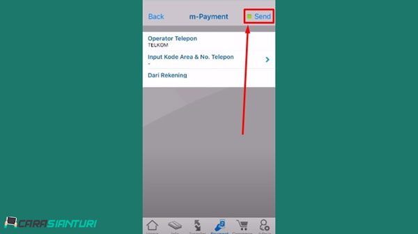 4. Pada menu operator telepon pilih Telkom kemudian pada menu input kode area dan nomor telepon 1