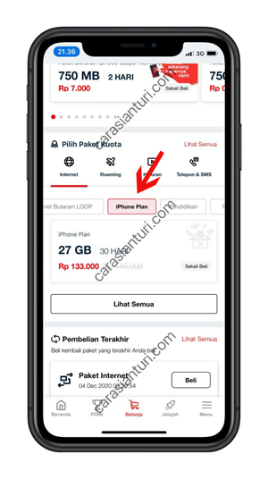 Pilih iPhone Plan