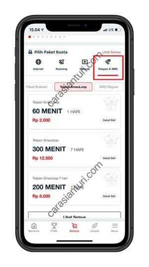 Pilih menu Telpon dan SMS
