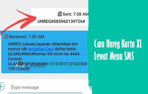 Unreg Kartu XL Lewat Menu SMS