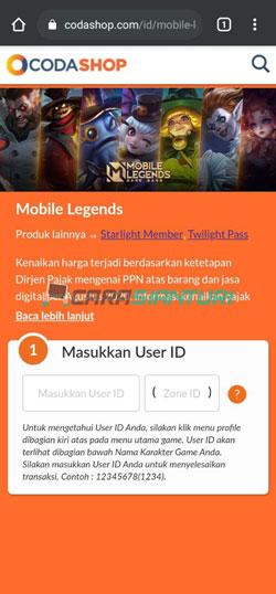 Masukkan ID Player
